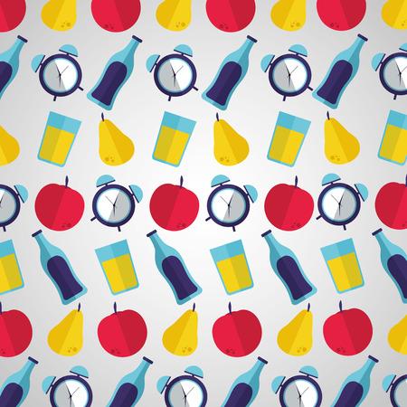 background clock fruit beverage world health day vector illustration Illustration
