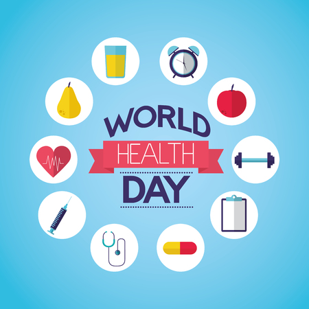 food nutrition sport icons world health day vector illustration Foto de archivo - 124741110