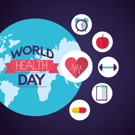 world health day healthy lifestyle vector illustration