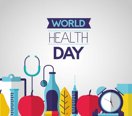 clock sport food stethoscope world health day vector illustration Foto de archivo - 124741112
