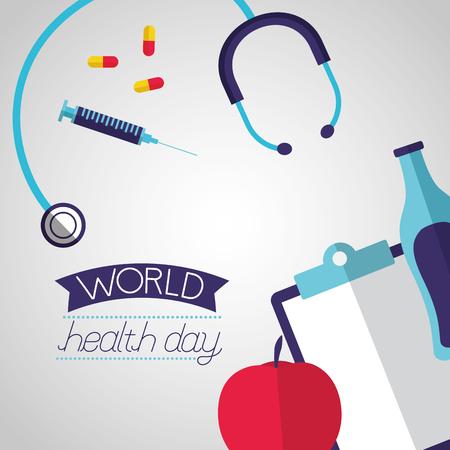 medical clipboard stethoscope apple world health day vector illustration