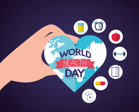 hand holding heart shaped world health day vector illustration