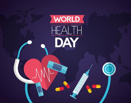 heart stethoscope syringe medicine world health day vector illustration Foto de archivo - 124741117