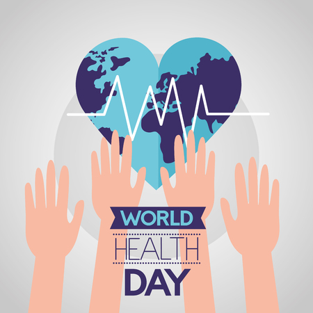 raised hands heart made world health day vector illustration Vettoriali