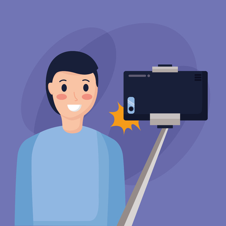 smiling young man taking selfie vector illustration Illustration