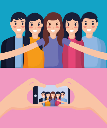 happy people group taking selfie vector illustration