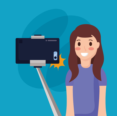 young woman with mobile taking selfie vector illustration