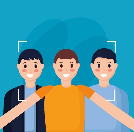 smiling friends men taking selfie vector illustration Illustration
