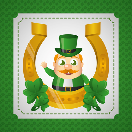 leprechaun with horseshoe happy st patricks day vector illustration