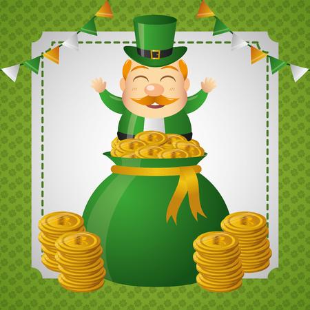 leprechaun money bag coins happy st patricks day vector illustration