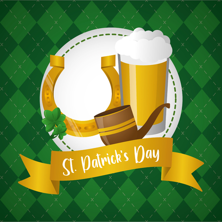 horseshoe pipe and beer happy st patricks day vector illustration