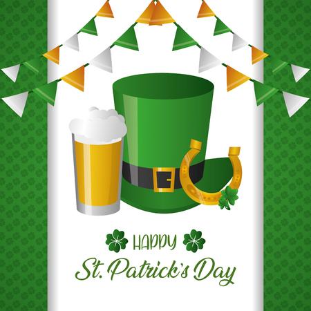 green hat horseshoe and beer happy st patricks day vector illustration Illustration