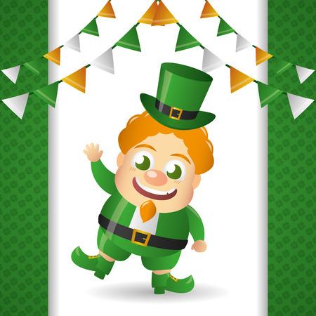 leprechaun happy st patricks day vector illustration