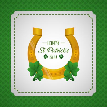 horseshoe clovers happy st patricks day vector illustration