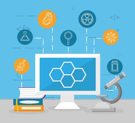 computer structure molecule microscope books laboratory science vector illustration Vettoriali