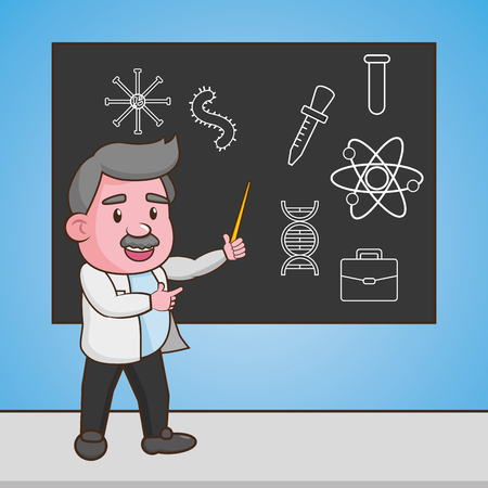 scientific professor teaches blackboard science laboratory vector illustration