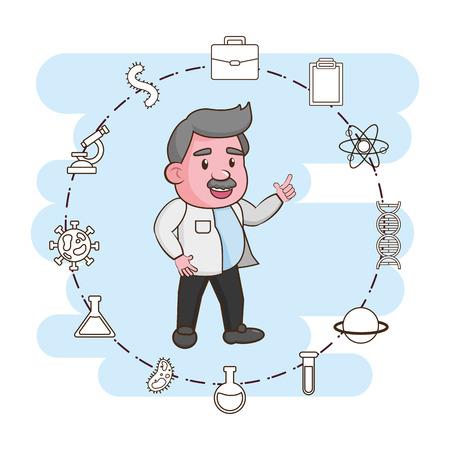 scientific professor character laboratory science vector illustration