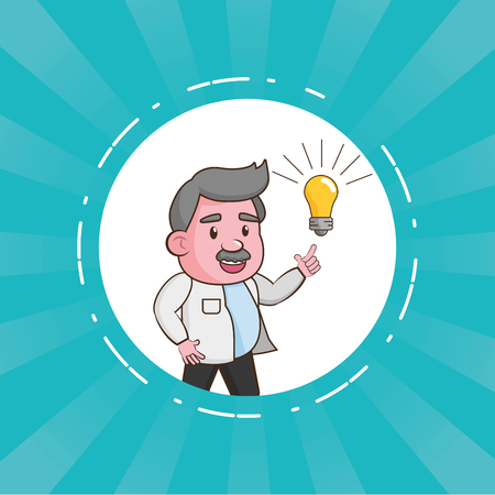 scientific professor innovation laboratory science vector illustration Çizim