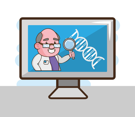 computer scientific magnifying glass laboratory science vector illustration