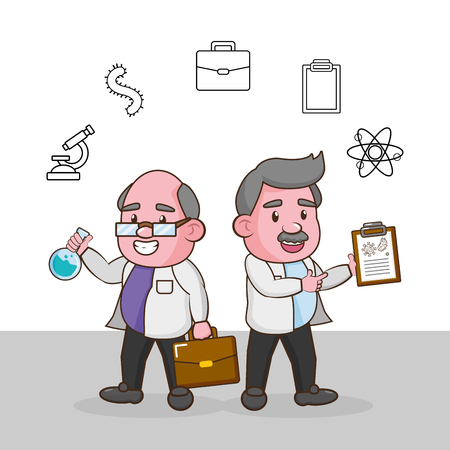 scientific professors suitcase test tube laboratory science vector illustration