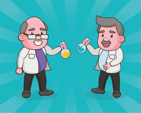 scientific professors with flasks laboratory science vector illustration Çizim