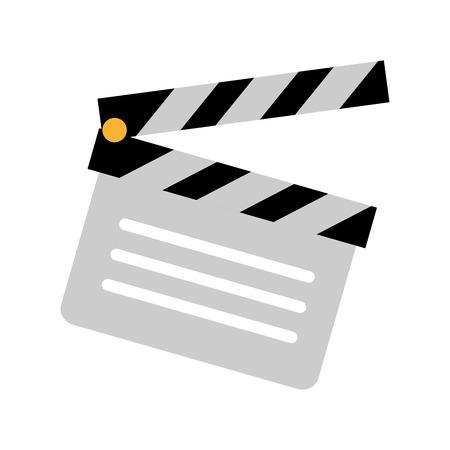 film clapperboard icon on white background vector illustration Çizim