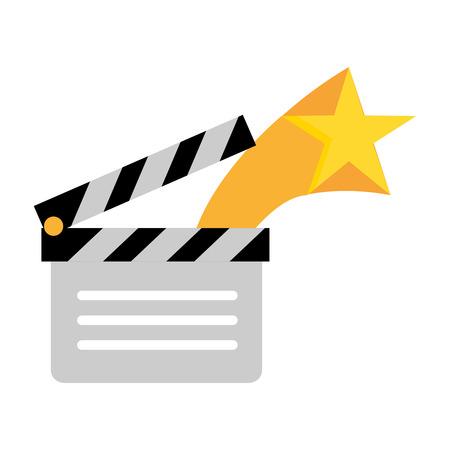 film movie clapperboard star on white background vector illustration Illustration