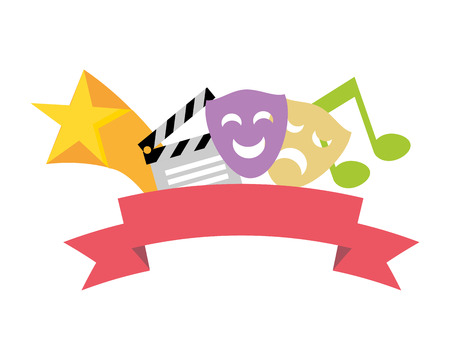 artistieke maskers theater Filmklapper muziek vectorillustratie