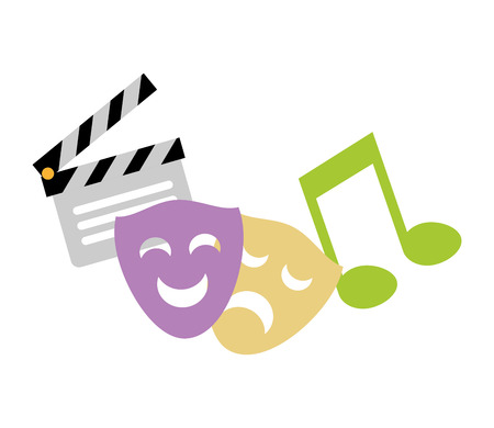 theater mask music note movie vector illustration 스톡 콘텐츠 - 124714993