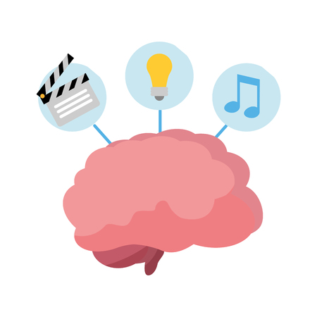 brain music idea paper idea creativity vector illustration