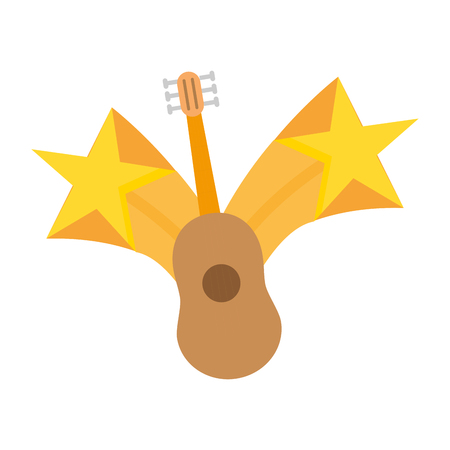 guitar instrument stars on white background vector illustration Illustration