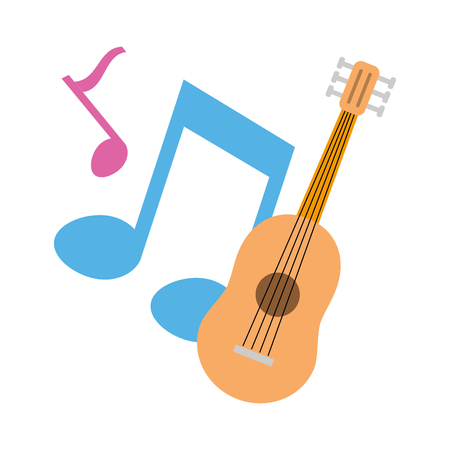 guitar notes music on white background vector illustration 写真素材 - 124714998