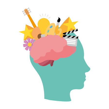head with brain idea creativity paintbrush color vector illustration Ilustrace