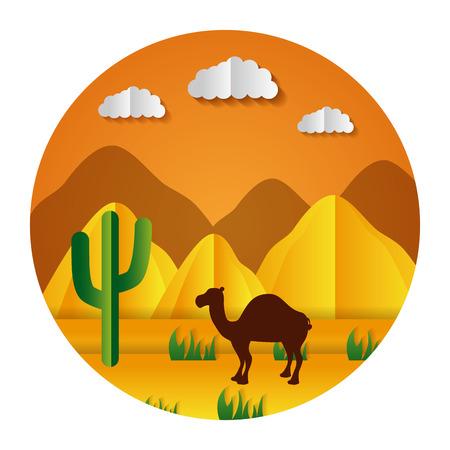 desert camel cactus paper origami landscape vector illustration