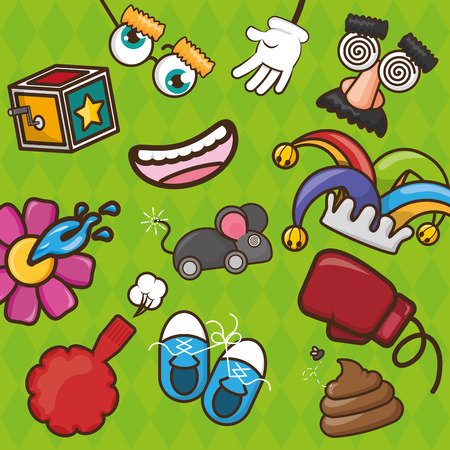 set of prank tricks april fools day vector illustration