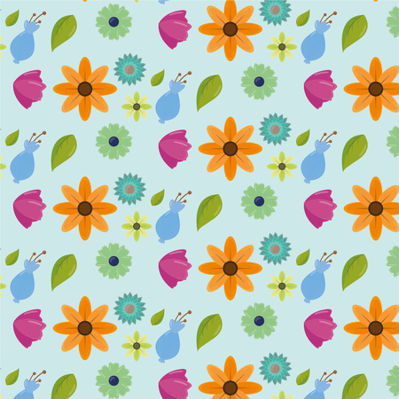 cute color flowers leaves decoration background vector illustration Çizim