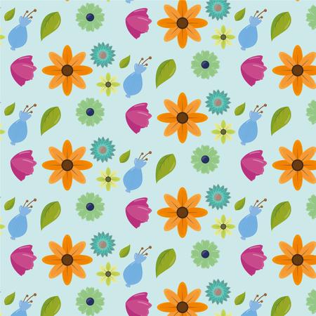 cute color flowers leaves decoration background vector illustration Illustration