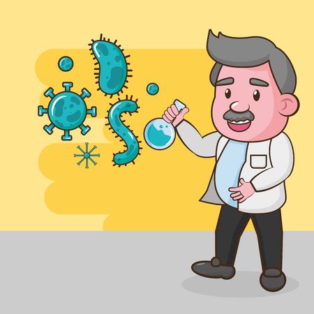 scientific sample bacteria cells flask laboratory science vector illustration  イラスト・ベクター素材