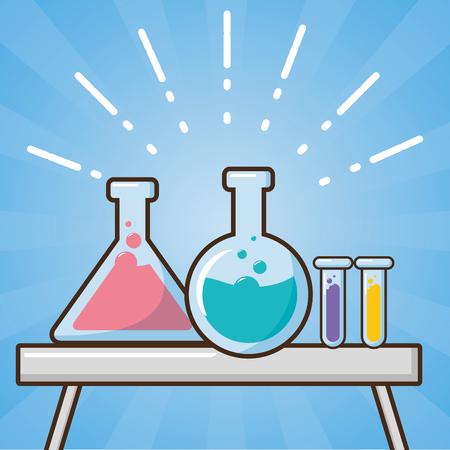 glasses flasks on table laboratory tool science vector illustration Illustration