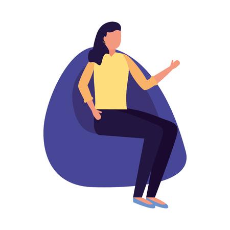 woman sitting on beanbag chair vector illustration