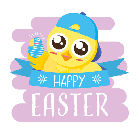 chick holding brush chick happy easter vector illustration