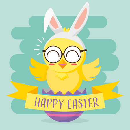 cute chick with ears and eyeglasses happy easter vector illustration