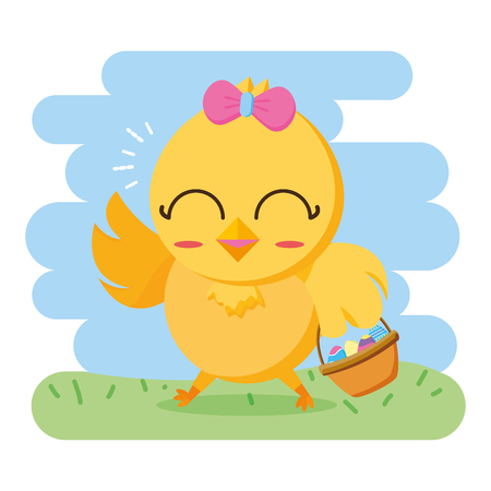 chick with basket eggs happy easter vector illustration