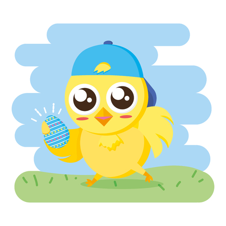 chick with sport cap and egg happy easter vector illustration Illustration