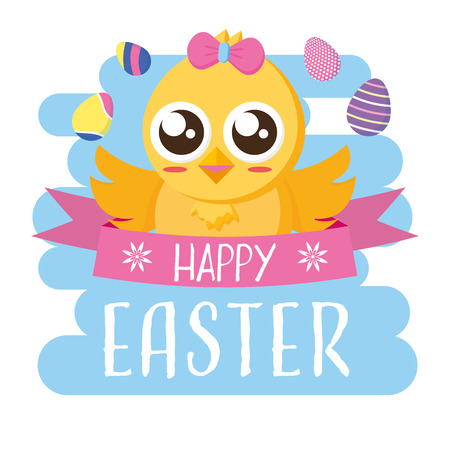 chick girl eggs decoration happy easter vector illustration