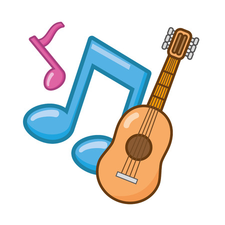 guitar notes music on white background vector illustration 写真素材 - 124715024
