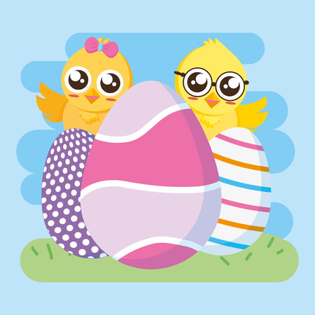 cute couple chicks with eggs happy easter vector illustration 일러스트