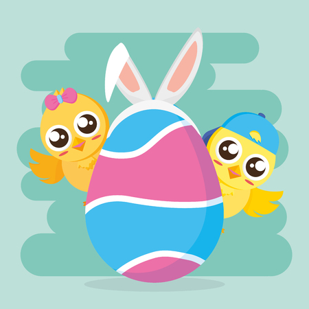 chicks couple with egg happy easter vector illustration