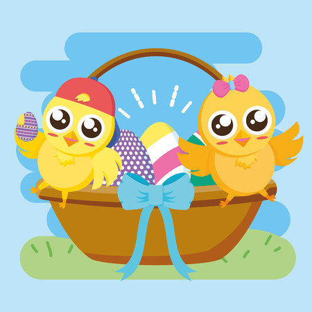 cute couple chicks basket eggs happy easter vector illustration