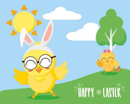 chicks in the landscape happy easter vector illustration
